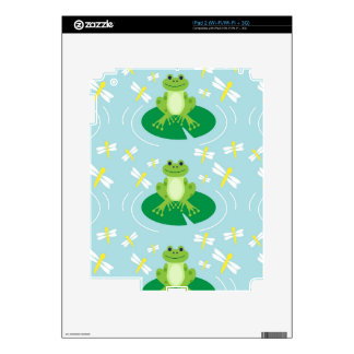Cute Frog on Lilypad with Dragonflies Skin For iPad 2