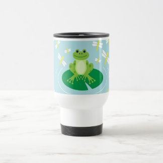 Cute Frog on Lilypad with Dragonflies Travel Mug