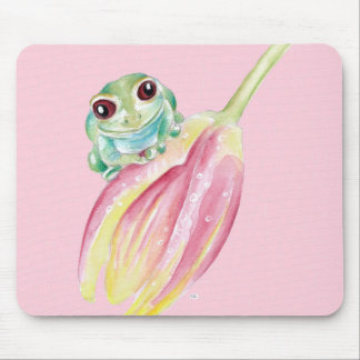 Cute Frog On Pink Mouse Pad