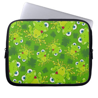 Cute Frog Patterned Laptop Sleeve