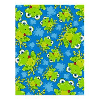Cute Frog Patterned Postcard