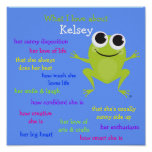 Cute Frog Personalized Poster for Children