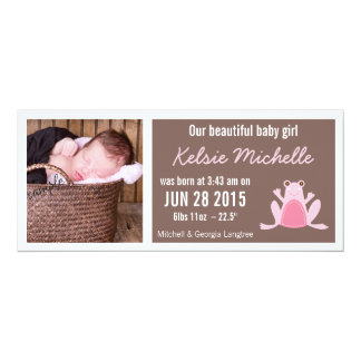Cute Frog Pink and Brown New Baby Girl 4x9.25 Paper Invitation Card