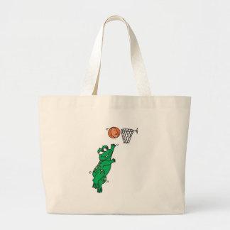 cute frog playing basketball large tote bag