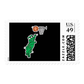 cute frog playing basketball stamp
