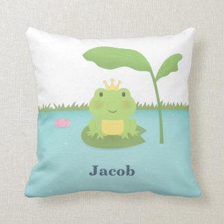 Cute Frog Prince For Boys Room Decor Pillow