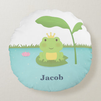 Cute Frog Prince For Boys Room Decor Round Pillow
