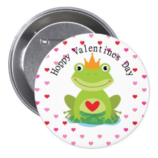 Cute Frog Prince Valentine Button