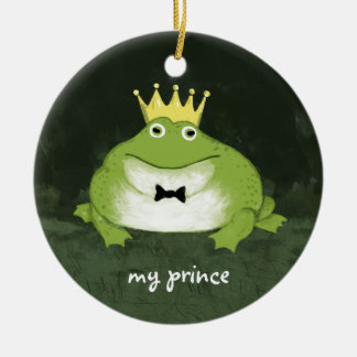 Cute Frog Prince with Customizable Text Ceramic Ornament