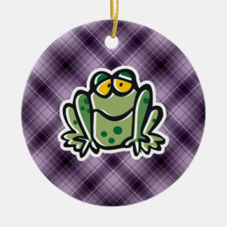 Cute Frog; Purple Ceramic Ornament