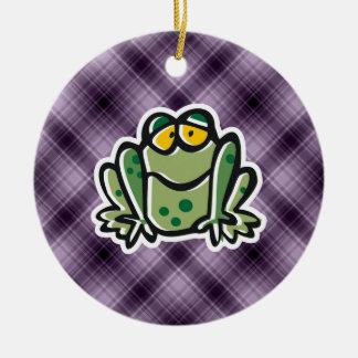 Cute Frog; Purple Ceramic Ornament