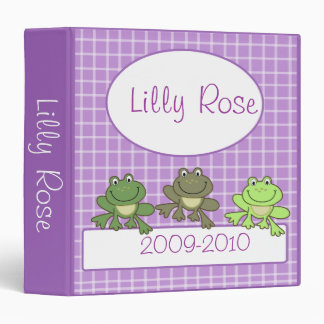 CUTE FROG PURPLE GIRL PHOTO ALBUM SCRAPBOOK 3 RING BINDER