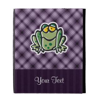 Cute Frog; Purple iPad Folio Case