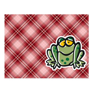 Cute Frog; Red Plaid Post Cards
