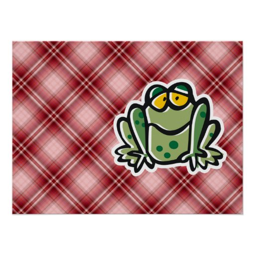 Cute Frog; Red Plaid Posters