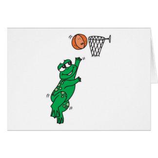 cute frog shooting basket card