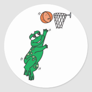 cute frog shooting basket classic round sticker