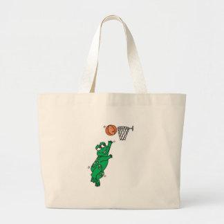 cute frog shooting basket large tote bag