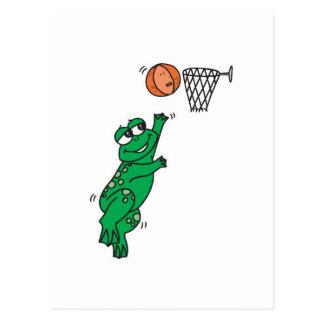 cute frog shooting basket postcard