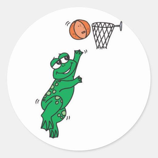 cute frog shooting basket round sticker