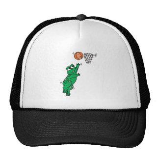cute frog shooting basket trucker hat