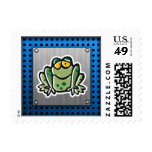 Cute Frog; Silver Postage Stamp