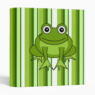 Cute Frog Striped Binder