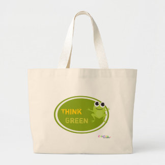 """Cute Frog """"Think Green"""" Large Tote Bag"""