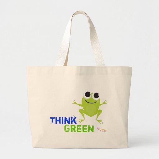 "Cute Frog ""Think Green"" Tote Bag"