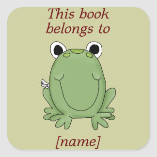 Cute Frog This Book Belongs To Book Plate Sticker