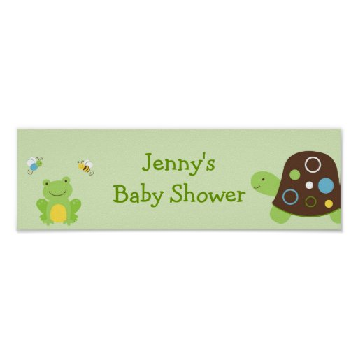 Cute Frog Turtle Bee Baby Shower Banner Sign Posters