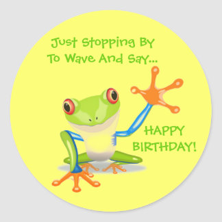 Cute Frog Wave Funny Animal Kids Happy Birthday Classic Round Sticker