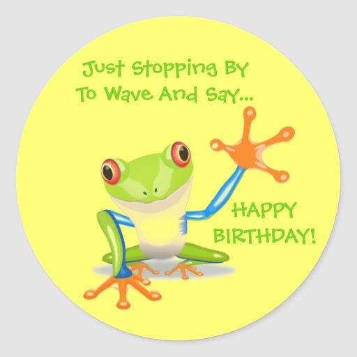 Cute Frog Wave Funny Animal Kids Happy Birthday Stickers