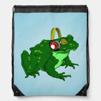 Cute Frog Wearing Headphone Drawstring Bag