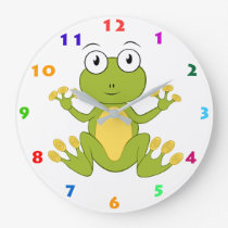 CUTE FROG WITH COLORFUL NUMBERS LARGE CLOCK