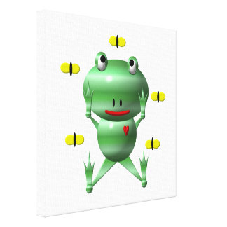 Cute Frog with Flies Canvas Print