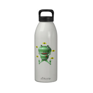 Cute Frog with Flies Drinking Bottle