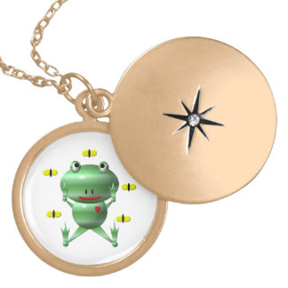 Cute Frog with Flies Locket Necklace