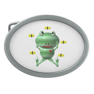 Cute Frog with Flies Oval Belt Buckles