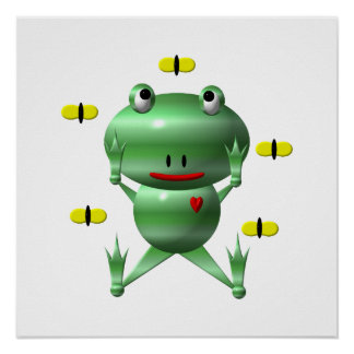 Cute Frog with Flies Poster