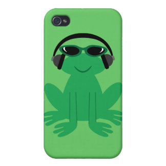 Cute Frog With Heads Sunglasses Case For iPhone 4