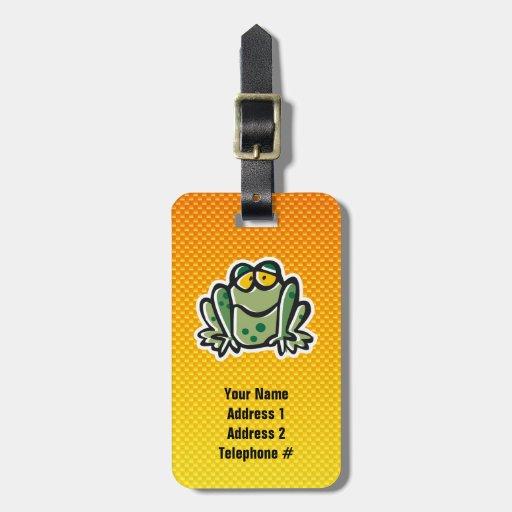 Cute Frog; Yellow Orange Bag Tags