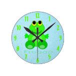 Cute Froggo Frog Round Clock