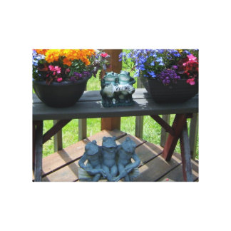 Cute Froggy Floral Garden Bench Welcome Print Stretched Canvas Print