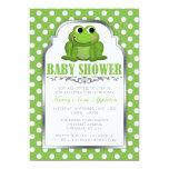 Cute Froggy Green Polka Dot Baby Shower Invitation