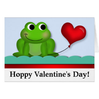 Cute Froggy Hoppy Valentine's Day NoteCards Card