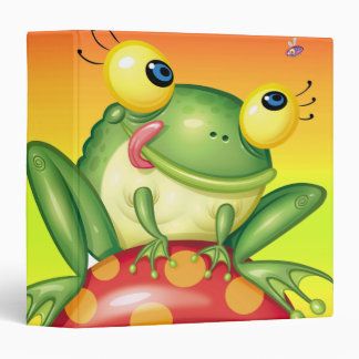cute froggy on toadstool notebook binder