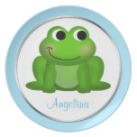 """Cute Froggy - Personalized 10"""" Blue Plate"""
