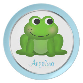 "Cute Froggy - Personalized 10"" Blue Plate"