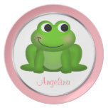 """Cute Froggy - Personalized 10"""" Pink Plate"""